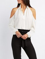 Charlotte Russe Cold Shoulder Button-Up Shirt