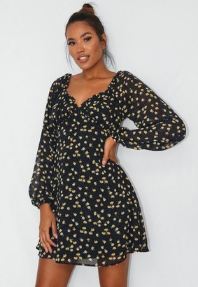 Missguided Navy Floral Print Milkmaid Skater Dress