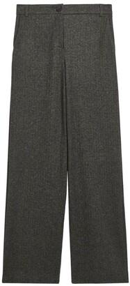 Max Mara Wide-Leg Herringbone Trousers