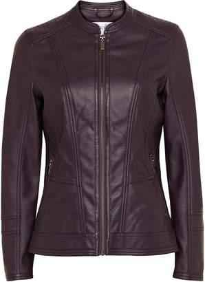 Wallis PETITE Purple Faux Leather Biker Jacket