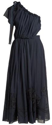 Fendi Silk-applique Cotton Voile Dress - Womens - Navy