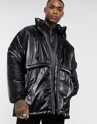 ASOS DESIGN puffer jacket in black high shine