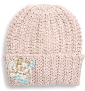 Free People Everything Rosy Floral Applique Rib Beanie