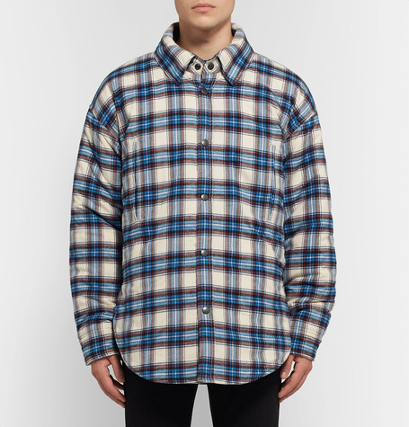 Balenciaga Oversized Padded Checked Cotton-Flannel Overshirt