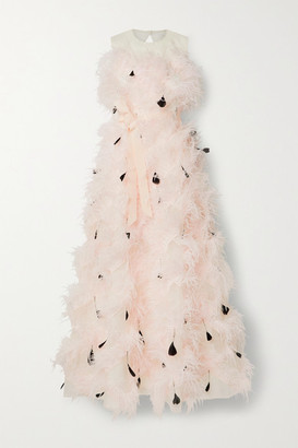 Huishan Zhang Mystique Feather-trimmed Cutout Silk-organza Gown - Pastel pink