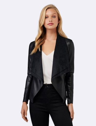 Forever New Ella PU Waterfall Jacket - Black - 12