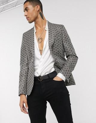 ASOS DESIGN slim tuxedo blazer in gold jacquard