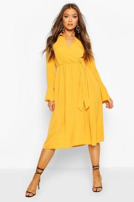 boohoo Wrap Split Midi Dress