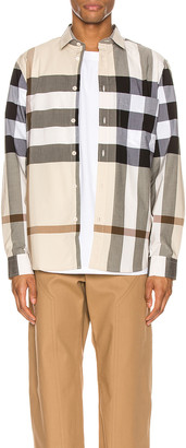 Burberry Somerton Long Sleeve Shirt in Modern Beige IP Check | FWRD