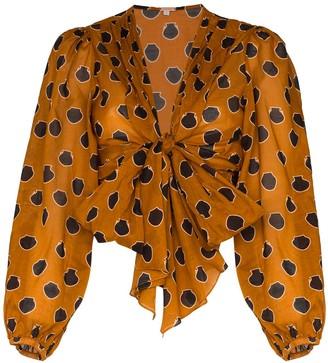 Johanna Ortiz Pioneer tie-front cotton-voile blouse