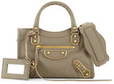 Balenciaga Edge City Mini Leather Satchel Bag, Light Gray