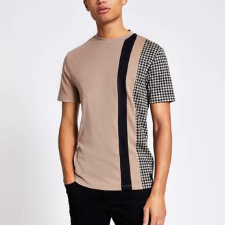 River Island Mens Brown dogtooth colour block slim fit T-shirt