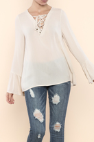 Entro Lace-Up Bell Sleeve Top