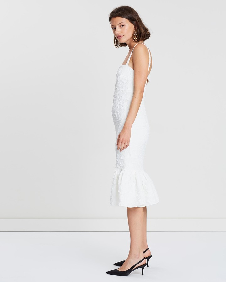 Thumbnail for your product : FRIEND of AUDREY - Women's White Midi Dresses - Allix Textured Midi Dress - Size One Size, 8 at The Iconic