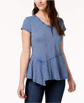 Style&Co. Style & Co Cotton Peplum-Hem T-Shirt, Created for Macy's