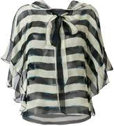 Alberta Ferretti striped pussybow blouse