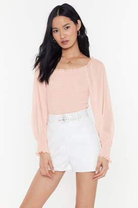 Nasty Gal Womens Sheer Me Roar Balloon Sleeve Blouse - Pink - L, Pink