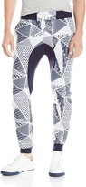 Southpole Men's Jogger Pants In Fleece Fabric with Drop Crotch and All Over Triangular Patterns