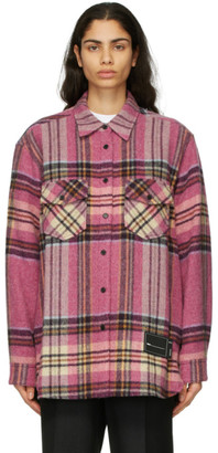 we11done Pink Wool Check Shirt