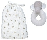 Under the Nile 2-Piece Safari Print Fitted Crib Sheet & Stuffed Elephant Toy Set