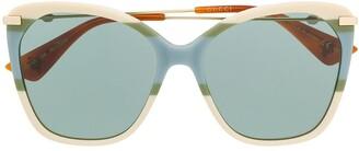 Gucci Block Stripe Butterfly Sunglasses