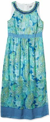Sandra Darren Women's 1 Pc Sleeveless Printed Chiffon Neckalce Maxi Dress