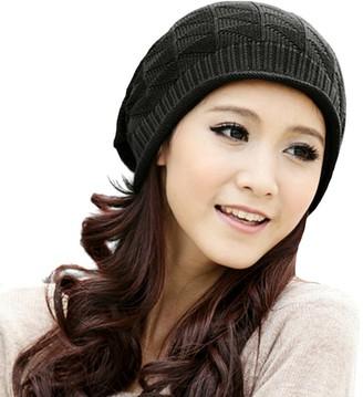 Locomo Hats LOCOMO Women Girl Triangle Pattern Slouchy Knit Beret Beanie Crochet Rib Hat Cap Warm FAF028BLK Black