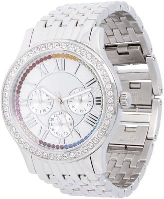 Stainless Steel Panther Link Watch with CrystalAccent