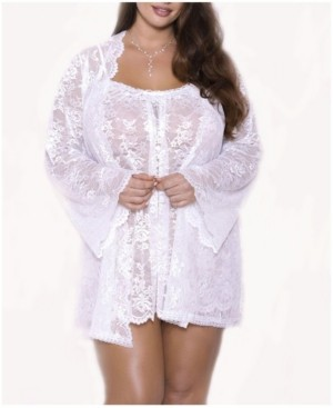 iCollection Plus Size Willow Lace Dressy Robe, Online Only