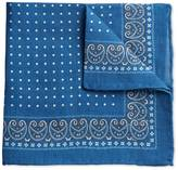 Royal And White Linen Spot Border Classic Pocket Square Size Osfa By Charles Tyrwhitt