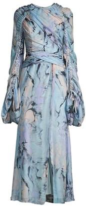 Flor Et. Al Arandas Silk Chiffon Full-Sleeve Gown