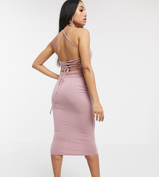 ASOS DESIGN Petite going out strappy back midi dress
