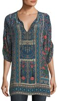 Tolani Aster 3/4-Sleeve Printed Silk Long Tunic, Plus Size