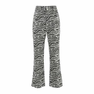 Lunaer Women Fashion Zebra Striped Pants High Waist Y2K Wide Leg Trousers Lightning Printed Straight Pants Vintage Tie Dye Hip-Hop Baggy Trousers Bell Bottom Pants Streetwear