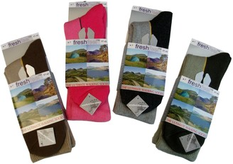 Waddington & Holme 2 Pair LADIES WALKING-HIKING BOOT SOCKS 85% COTTON WITH COMFORT TOE SEAM (FF L10729) (Grey & Green)