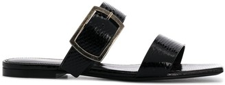 Saint Laurent Embossed Buckled Flat Sandals