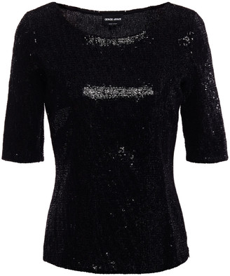 Giorgio Armani Flocked Sequined Stretch-jersey Top