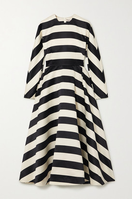 Emilia Wickstead Cruz Striped Satin Dress - Black