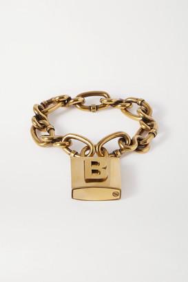 Balenciaga Lock Embossed Gold-tone Bracelet - M