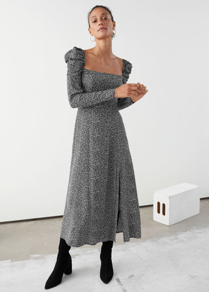And other stories Square Neck Puff Sleeve Midi Dress