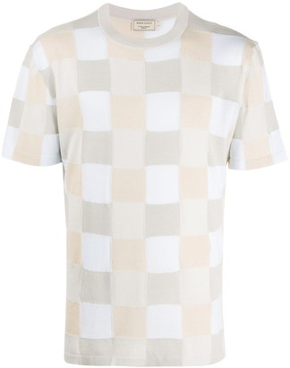 MAISON KITSUNÉ check pattern knitted T-shirt