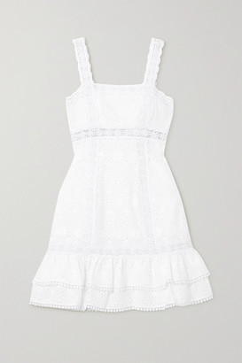 Charo Ruiz Ibiza Nawa Crocheted Lace-trimmed Broderie Anglaise Cotton-blend Mini Dress - White