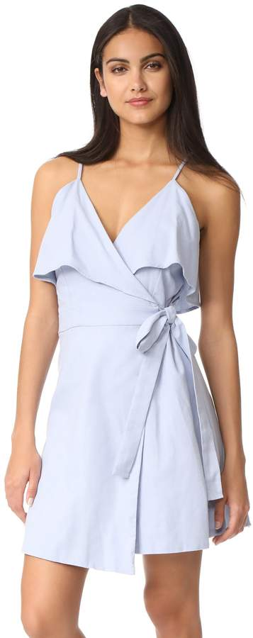 J.o.a. Women's Cold Shoulder Wrap Style Ruffle Dress