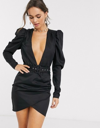 In The Style x Stephsa puff sleeve plunge detail wrap dress with belt in black
