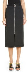 Givenchy Zip Front Melange Wool Jersey Skirt