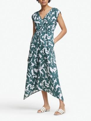 John Lewis & Partners Floral Handkerchief Hem Linen Dress, Multi