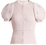 Giambattista Valli Embellished ribbed-knit cotton cardigan