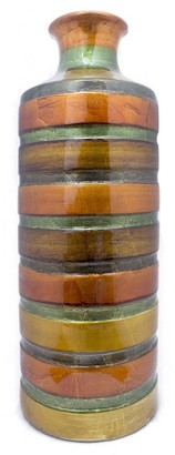 HomeRoots Orange Green Amber Brown Ceramic Lacquer Strip Cylinder Vase