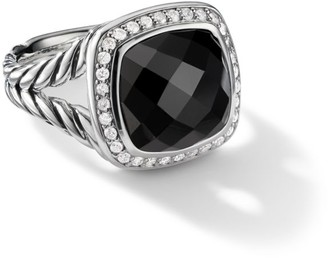 David Yurman Albion Ring with Black Onyx and Diamonds, 11mm
