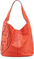 Tory Burch All T Pebbled Leather Hobo Bag, Poppy Red